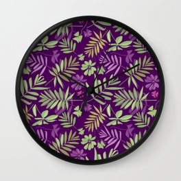 leaves pattern, background from leaves of potted flowering plants Wall Clock