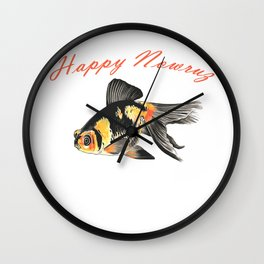 Happy Nowruz Demekin Goldfish Persian New Year Wall Clock