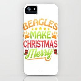 Beagle Dog Lover Christmas Beagles Make Christmas Merry iPhone Case