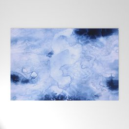 Marbled Water Blue Welcome Mat