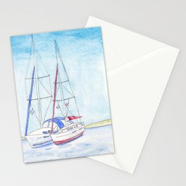 Boats in the Harbor at Naxos  Stationery Cards
