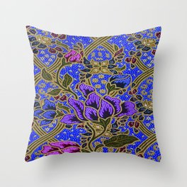 Neon Blue Purple Floral Pattern Leafs Throw Pillow