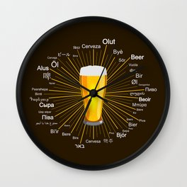 """Beer"" in 45 different languages Wall Clock"