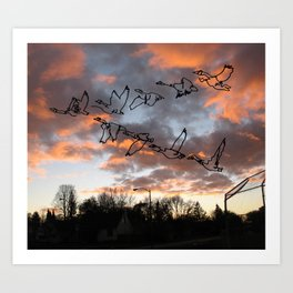 Flock of Geese at Sunrise Art Print