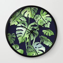 Delicate Monstera Blue #society6 Wall Clock