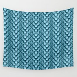 Gleaming Blue Metal Scalloped Scale Pattern Wall Tapestry