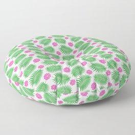Palm Leaf Pink Hibiscus Tropical Vegetation Pattern Floor Pillow