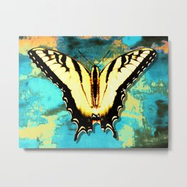 Modern Yellow Butterfly On Aqua Abstract Photo Art A359 Metal Print