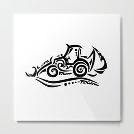 Backhoe Tribal Tattoo Metal Print