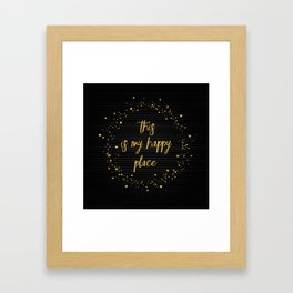 Text Art THIS IS MY HAPPY PLACE III | black with hearts, stars & splashes Framed Art Print