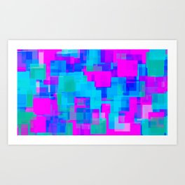 pink blue and green square abstract background Art Print