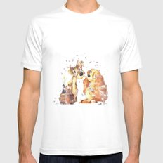 Lady and the Tramp Disneys MEDIUM White Mens Fitted Tee