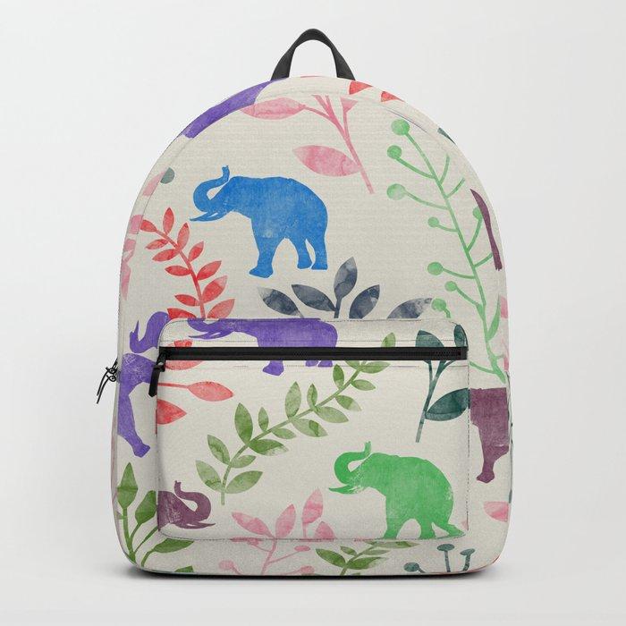 Watercolor Flowers & Elephants Backpack