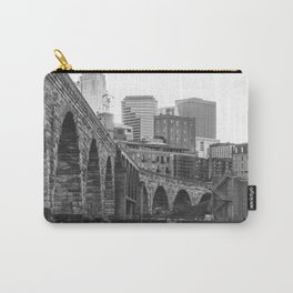 Minneapolis Skyline Black and White Carry-All Pouch