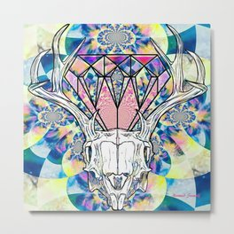 Geometric skull and diamond psychedelic print Metal Print