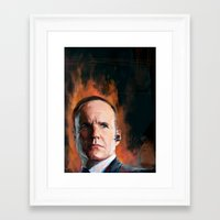 phil jones Framed Art Prints featuring Phil Coulson by Wisesnail