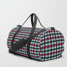 Blue , red , black plaid Duffle Bag