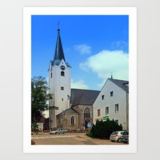 The village church of Oberneukirchen I | architectural photography Art Print