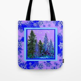 BLUE-LILAC WINTER SNOWFLAKE CRYSTALS FOREST ART DESIGN Tote Bag