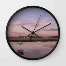 Pier at Golden hour Wall Clock