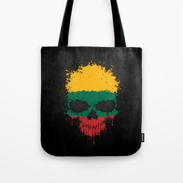 Flag of Lithuania on a Chaotic Splatter Skull Tote Bag