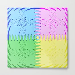 Color Blocks in Blue, Pink, Green & Yellow - Wave Saw Design Metal Print