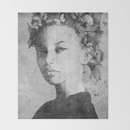 PORTRAIT (Woman with butterflies) Throw Blanket