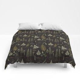 Fern pattern black Comforters