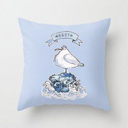 Ahoy Seagull Throw Pillow