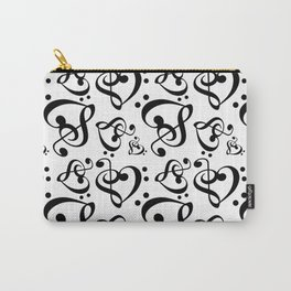 Black And White Clef Hearts Carry-All Pouch