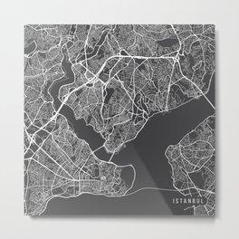 Istanbul Map, Turkey - Gray Metal Print