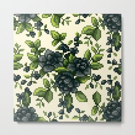 Pixel Floral - Black on White Metal Print