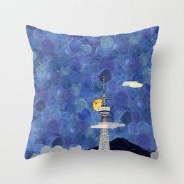 Starry Night over Skytree Tokyo Throw Pillow