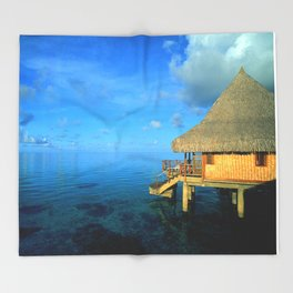 Over-the-Water Island Bungalow Throw Blanket
