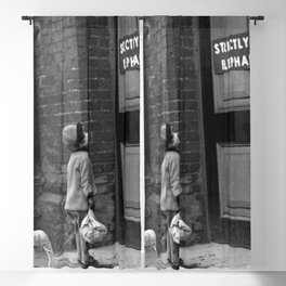 'Strictly No Elephants' vintage humorous child verses the world black and white photograph / black and white photography Blackout Curtain