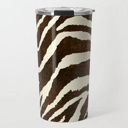 ANIMAL PRINT ZEBRA IN WINTER 2 BROWN AND BEIGE Travel Mug