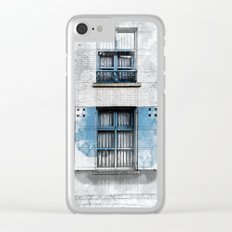 Architect Drawing of Blue Wooden Windows Clear iPhone Case