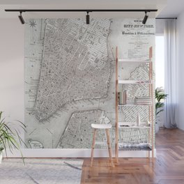Vintage New York City Map Wall Mural