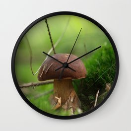 Mushroom time in the forest Wall Clock