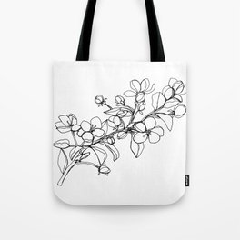 Apple Blossoms, A Continuous Line Drawing Tote Bag