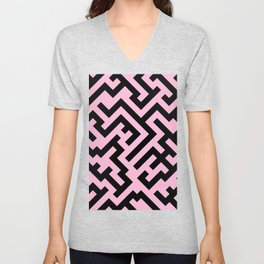 Black and Cotton Candy Pink Diagonal Labyrinth Unisex V-Neck