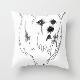 sad bear Throw Pillow