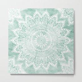 BOHEMIAN FLOWER MANDALA IN TEAL Metal Print