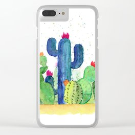 Colorful Cactus Clear iPhone Case
