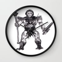 skeletor Wall Clocks featuring Skeletor by Furry Turtle Creations