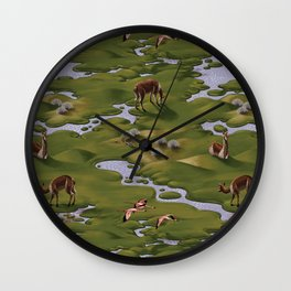 Vicuñas and Flamingoes Wall Clock