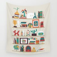 radio Wall Tapestries featuring The shelf by Picomodi