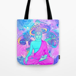 Sitting Buddha among psychedelic Mushrooms Tote Bag