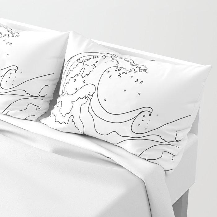 Minimal Line Art Ocean Waves Kissenbezug