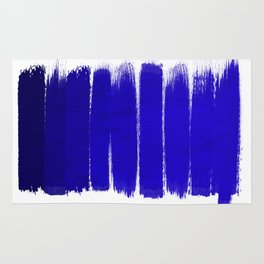Shel - abstract painting painterly brushstrokes indigo blue bright happy paint abstract minimal mode Rug